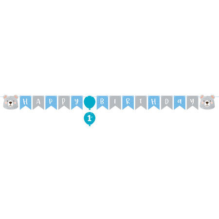 1st Birthday Bear Ribbon Banner Shaped