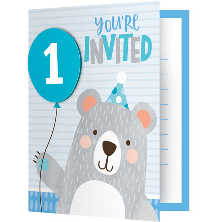 1st Birthday Bear Party Invitations 8pk