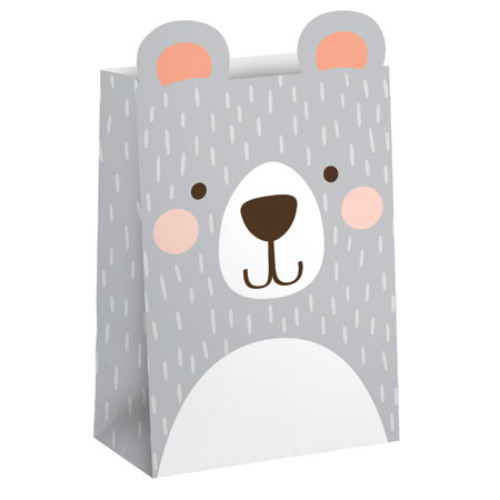 1st Birthday Bear Paper Treat Bags 8ct