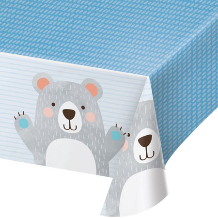 1st Birthday Bear Plastic Tablecover