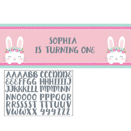 1st Birthday Bunny Giant Party Banner
