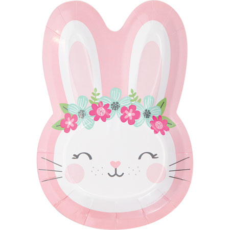 1st Birthday Bunny Shaped Plates 8pk
