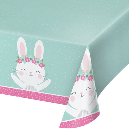 1st Birthday Bunny Plastic Tablecover