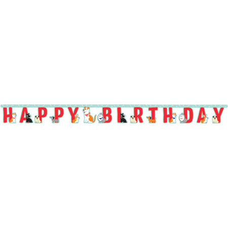 Dog Party Jointed Happy Birthday Banner