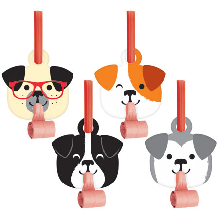 Dog Party Dog Faces Blowouts 8pk