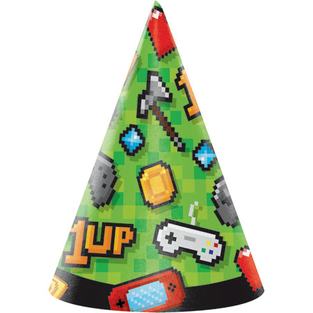 Gaming Party Cone Hats 8pk