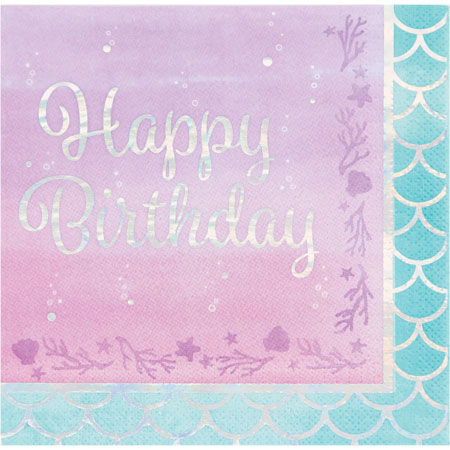 Mermaid Shine Happy Birthday Lunch Napkins 16pk