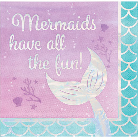 Mermaid Shine All The Fun Lunch Napkins 16pk