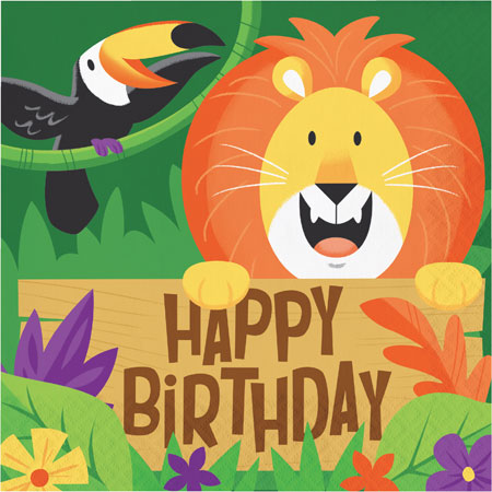 Jungle Safari Happy Birthday Lunch Napkins 16pk