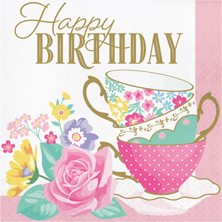 Floral Tea Party Happy Birthday Lunch Napkins 16pk