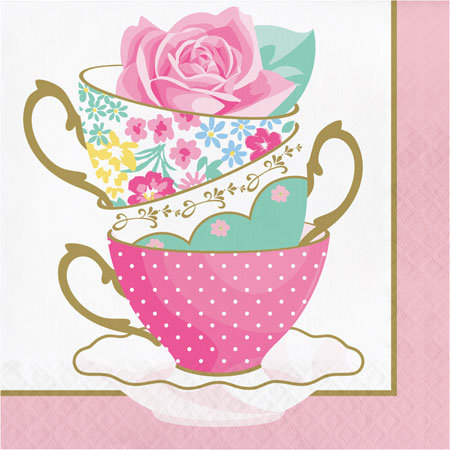 Floral Tea Party Teacup Lunch Napkins 16pk