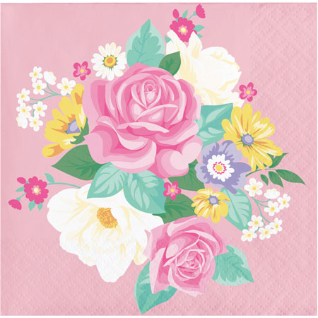 Floral Tea Party Beverage Napkins 16pk