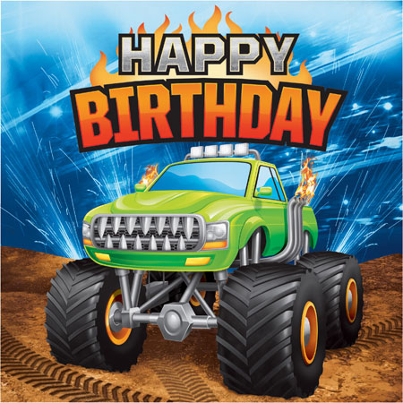 Monster Truck Rally Happy Birthday Lunch Napkins 16pk