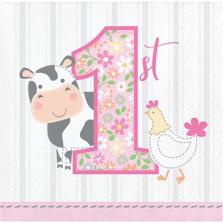 Farmhouse 1st Birthday Girl Beverage Napkins 16pk