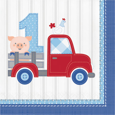 Farmhouse 1st Birthday Boy 1st Birthday Lunch Napkins 16pk