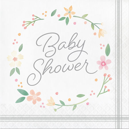 Farmhouse Floral Baby Shower Lunch Napkins 16pk