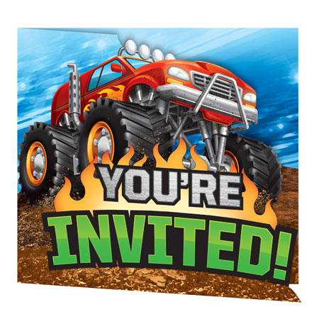 Monster Truck Rally Party Invitations 8pk