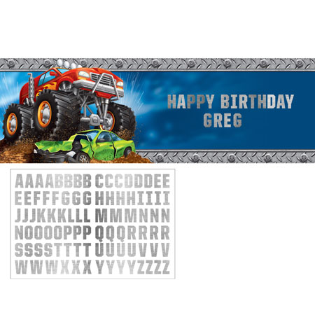 Monster Truck Rally Giant Party Banner