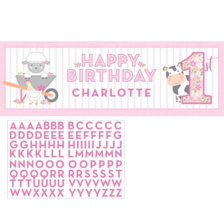 Farmhouse 1st Birthday Girl Giant Party Banner With Stickers