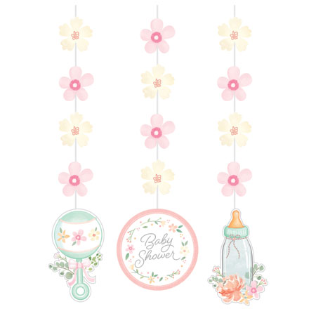 Farmhouse Floral Baby Shower Hanging Cutouts