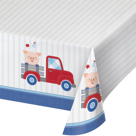 Farmhouse 1st Birthday Boy Plastic Tablecover