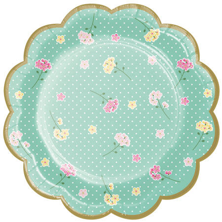 Floral Tea Party Scalloped Plates 8pk