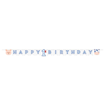 Farmhouse 1st Birthday Boy Shaped Ribbon Banner