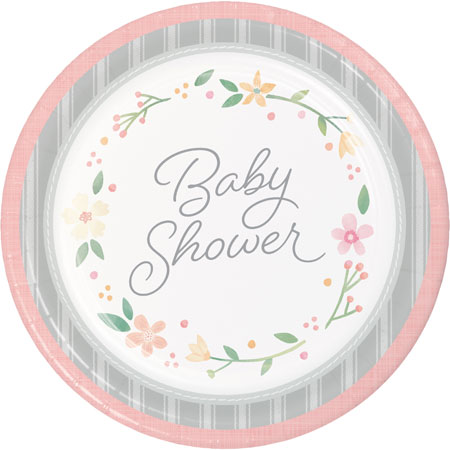 Farmhouse Floral Baby Shower Dinner Plates 8pk