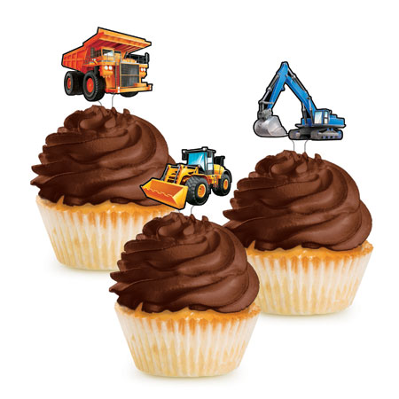 Big Dig Construction Cupcake Toppers 12pk