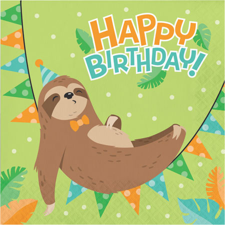 Sloth Party Birthday Lunch Napkins 16pk