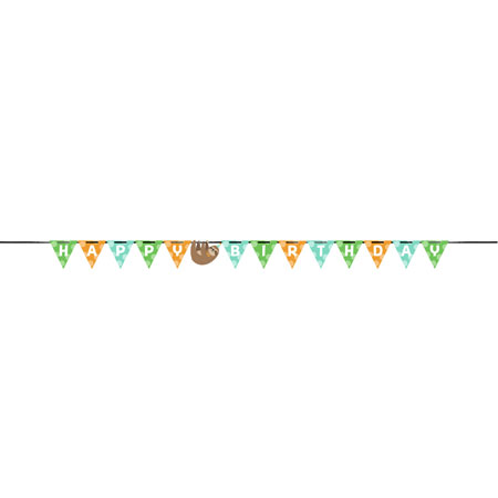 Sloth Party Shaped Ribbon Happy B-day Banner