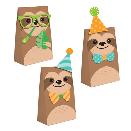 Sloth Party Paper Treat Bags with Attachments 8pk