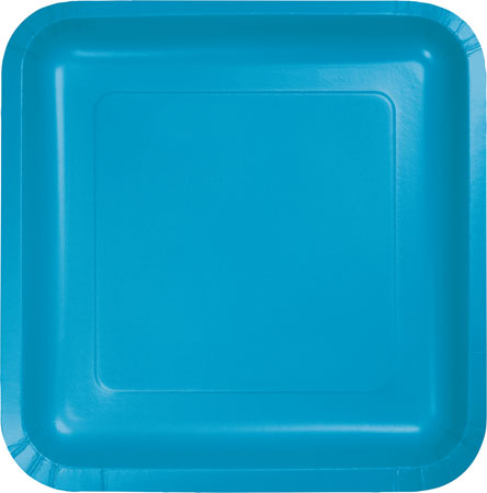 Solid Turquoise Square 9in Plates 18pk