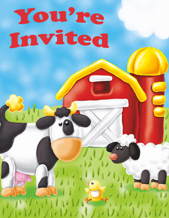 On The Farm Party Invitations 8pk Parties4Kids