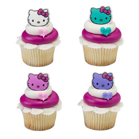 Hello Kitty Cupcake Rings 12pk