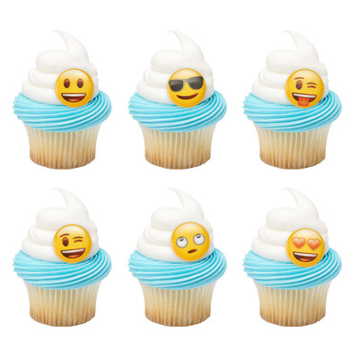 Emoji Mood Cupcake Rings 12pk