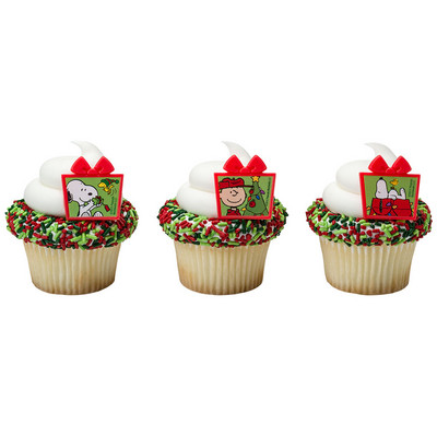 Charlie Brown Peanuts Christmas Cupcake Rings 12pk