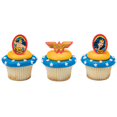 Wonder Woman Cupcake Rings 12pk
