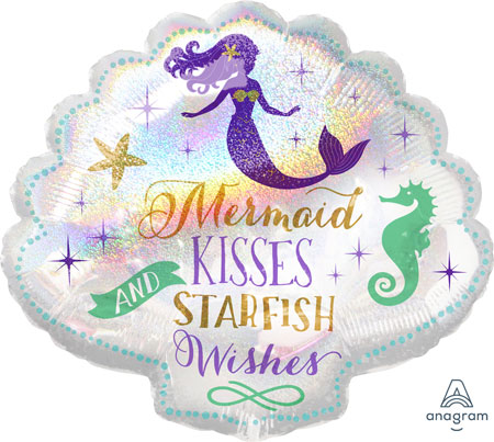 Mermaid Wishes 25in Shell Shaped Foil Balloon