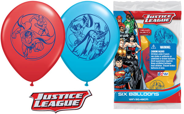 Justice League Printed Latex Balloons 6pk