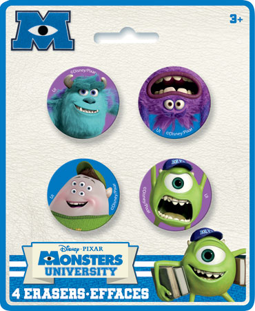Monsters University Shaped Erasers 4pk