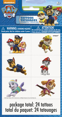 Paw Patrol Tattoo Sheets 4pk
