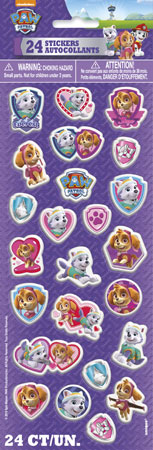 Paw Patrol Pink Puffy Stickers