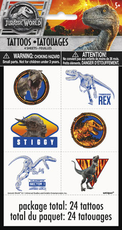 Jurassic World Temp Tattoo Sheets 4pk