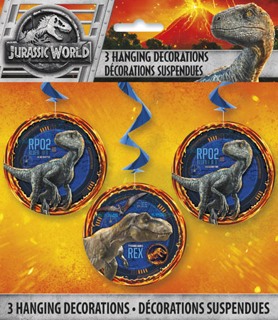 Jurassic World Hanging Swirls Decorations 3pk
