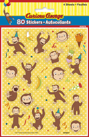 Curious George Sticker Sheets 4ct