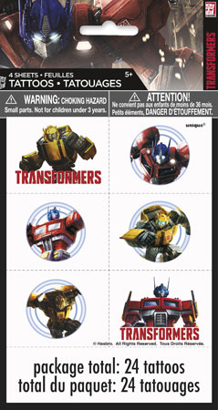 Transformers Temp Tattoo Sheets
