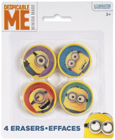 Despicable Me Shaped Erasers 4ct