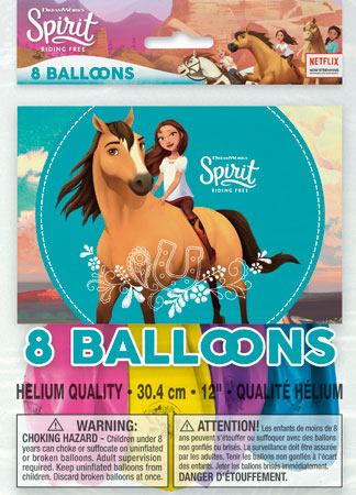 SPIRIT Riding Free 12in Printed Balloons 8pk