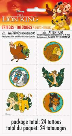 Lion King Temp Tattoos 24ct